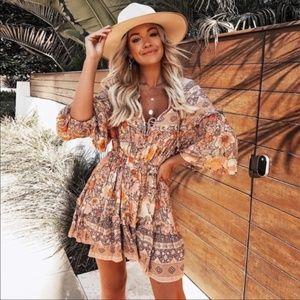- Boho Chic Floral Print Front Tie Dress